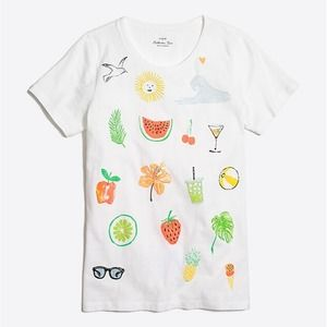 J. Crew Summer Icon Collector Tee Graphic Top S